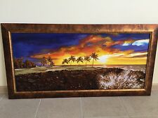 Hawaii Golf Sunset-Panoramic Oil Painting with Imbedded Amber Stones