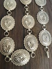 """""""STAMPED"""" HEAVY (8.21 OZ.) NAVAJO 35"""" HAND STAMPED STERLING SILVER CONCHO BELT"""