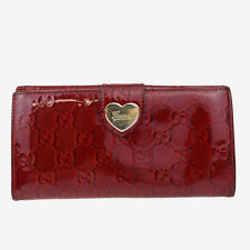 Auth GUCCI GG Pattern Heart Long Bifold Wallet Purse Patent Leather Red 03Y518