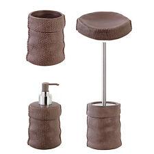 Set accessori bagno da appoggio in ceramica marrone e acciaio inox serie Sacco