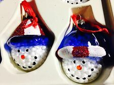 8 Hand Painted, Blown Glass Patriotic Christmas Ornaments, Studio Nova,Wood Case