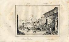 Stampa antica SIRACUSA veduta della mitica Fonte ARETUSA Sicilia 1835 Old print