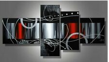 Big Ready to Hang 5 Piece Modern Art Abstract Painting Canvas Red Wall Framed