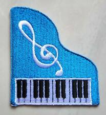 Pretty Cute Blue Piano Music Note Embroidered Iron on Patch Free Shipping