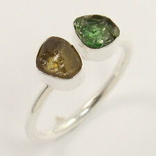 925 Sterling Silver Ring Size US 6.75 Natural YELLOW & GREEN TOURMALINE Gemstone