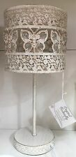 Shabby Chic Antique White Metal Jewel Butterfly Table Lamp Girls Bedroom NEW