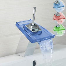 New LED Colors Waterfall Bathroom Faucet Vanity Sink Mixer Tap Deck Mounted