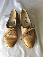 Ladies Beige Lace Up Wedge Shoes Size 5.5 Uk New