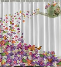 """Flowers SHOWER CURTAIN Butterflies Floral Watering Can 70"""" Fabric Bath Tub Decor"""