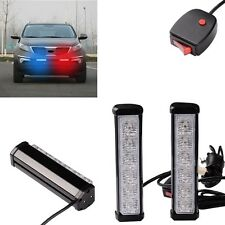 Car Auto RED and BLUE Warning Emergency Beacon Strobe Flash LED Light Lamp Bar