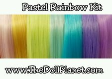 "24"" AG Pastel Rainbow Nylon Doll Hair Reroot Kit 7 Hanks for Size 13 heads"