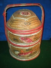 Antique Vintage Chinese Asian wicker bamboo 2 tier WEDDING BASKET Painted fish