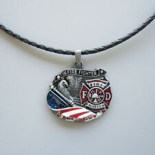 Hero Fire Firefighter Metal Charm Pendant Leather Necklace