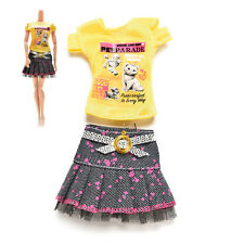 Casual Skirt T-shirt for Barbies with Magic Pasting Doll Clothes Accessories B7