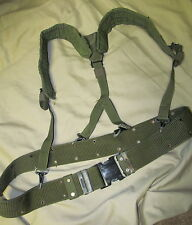 USGI MILITARY LARGE PISTOL BELT with BLACK PLASTIC BUCKLE & SUSPENDERS