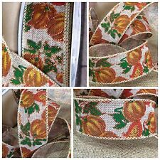 "New 20 yards Fall Pumpkin 2"" Ribbon, Wired Burlap Thanksgiving Ribbon"
