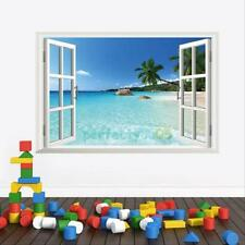 Beach Resort 3D Window View Removable Wall Sticker Art Vinyl Decal Decor