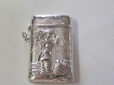 MERMAID DESIGN WITH ETCHING STERLING SILVER MATCH SAFE/ VESTA - NEW