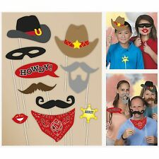 WESTERN PARTY PHOTO BOOTH PROPS COWBOY COUNTRY HATS MUSTACHE BADGE DECORATIONS