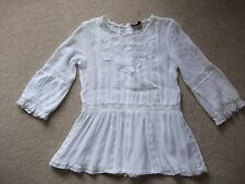 Topshop White Victorian Gypsy Embroidered Lace Blouse Top - Size 10.. Fits an 8