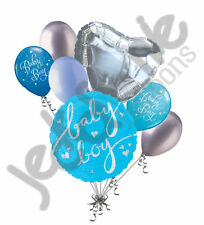 7 pc Holographic Baby Boy Balloon Bouquet Party Decoration Welcome Home Shower
