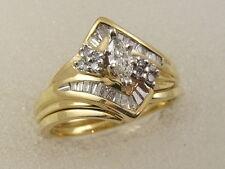 14K MARQUISE DIAMOND ENGAGEMENT RING SET 14 KARAT GOLD MATCHING WEDDING BAND