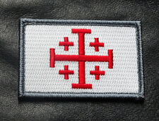 JERUSALEM CROSS INFIDEL CRUSADER EMBROIDERED HOOK MORALE PATCH WHT/RED