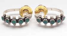 Stunning 925 Sterling Silver Ear Rings Dangle Turquoise Art Deco Retro Screw