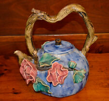 Chinese Asian Art Pottery Glazed Tea Pot with Branch Shaped Handle Pink Roses