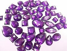 50 PÚRPURA Facetado Acrílico Para Coser,Adhesivo DIAMANTE cristal