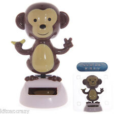 NOVELTY SOLAR POWERED DANCING MONKEY, DASHBOARD TOY, HOME OR CAR
