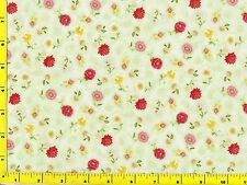 Victorian Elegance Small Flowers on Light Green Quilting Fabric by Yard  #196b