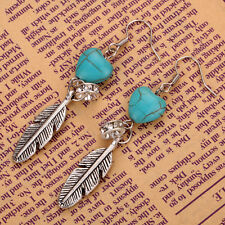 Women Vogue Heart Turquoise Crystal Silver Feather Shape Dangle Stud Earrings