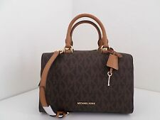 NWT AUTHENTIC MICHAEL KORS KIRBY MEDIUM SIGNATURE SATCHEL-$298-BROWN