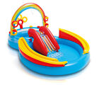 INTEX Inflatable Kids Rainbow Ring Water Play Center + Quick Fill Air Pump