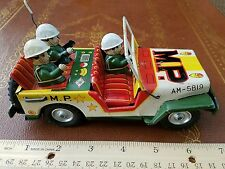 vintage tin friction MP military modern co police toy made in japan tin toy lot