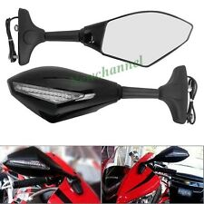 Black Motorcycle Fairing Mount LED Turn Signal Side Mirrors For Honda CBR600RR