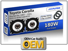 "Toyota Corolla Rear Door speakers Alpine 10cm 4"" car speaker kit 180W Max"
