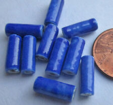40 Vintage Japanese Handpainted Ceramic Glossy Blue Tube Beads 12mm x 4mm