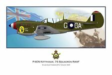 WWII RAAF P-40 Kittyhawk Aviation Art Profile Photo Prints S1- Full Set of 3