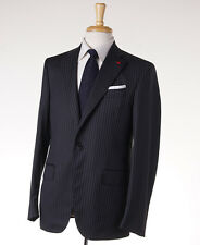NWT $3695 ISAIA Charcoal Gray-Sky Blue Stripe Super 130s Wool Suit 40 R (Eu 50)