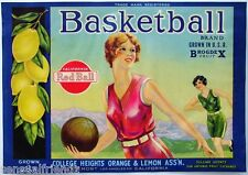 Basketball Lemons Fruit Crate Label Art Print Vintage Athletic Sexy Girl