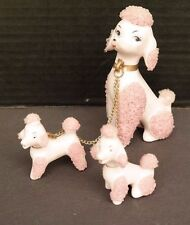 Vtg PINK POODLE Porcelain (Spaghetti) Figurines - Dog Puppies w/ Crystals Japan