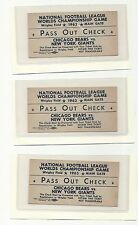 1963 NFL Football Championship Game Pass Out Check Ticket Chicago Bears GIANTS