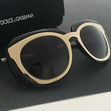 Dolce & Gabbana DG6104 Women's Black Gold Fashion Designer Sunglasses Italy NWT