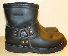 DURANGO ENGINEER Ankle Boots Women's 3.5 Wide Pull On Black Leather Motorcycle