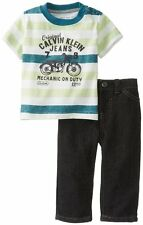 AUTH.NWT CALVIN KLEIN CK BABY BOYS NEWBORN STRIPES TEE WITH PANTS/JEANS, 6-9M