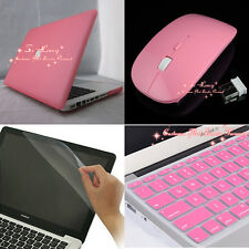 4in1 Pink Rubberized Hard Case Wireless Mouse for Macbook Pro 13 inch A1278