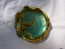 Zsolnay Hungary Eosin Iridescent Green/Gold Lobster Dish with Snake