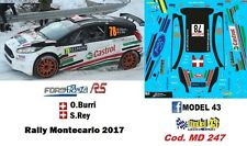 DECAL  1/43 -  FORD  FIESTA R5   -  BURRI  - Rally Montecarlo    2017